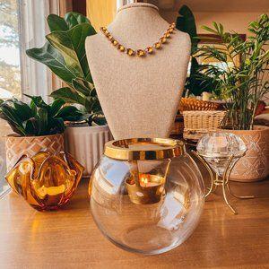 Brass Glass Globe Tea Candle Holder Modern
